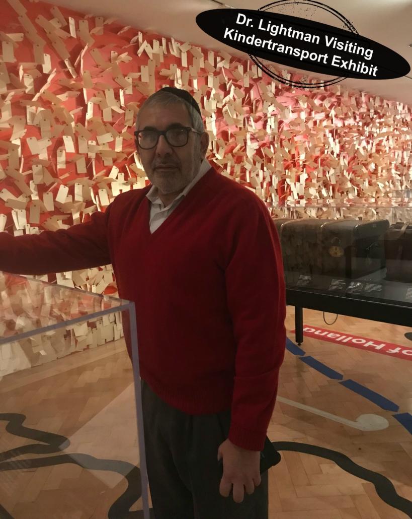 Dr. Hylton Lightman Pediatrician visited Yeshiva University Museum in December 2018 - He is exploring the Kindertransport Museum.